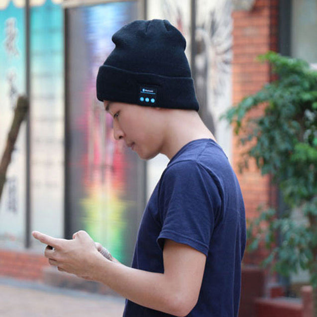 Soft Warm Wireless Stereo Bluetooth Beanie Smart Cap Headphone With Mic For Calling And Music Black