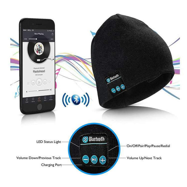 Soft Warm Wireless Stereo Bluetooth Beanie Smart Cap Headphone With Mic (Black)
