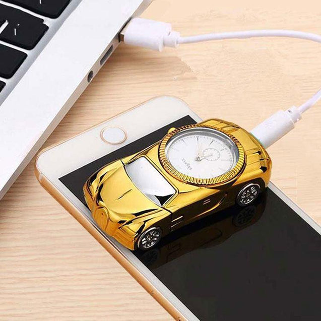 DaZon Ignite Sports Car Designed USB Lighter Watch With Rechargeable (Gold/White)