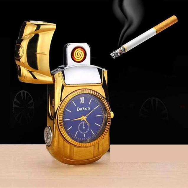 DaZon Car Designed USB Lighter Watch With Micro USB Cable  (Gold/Blue)