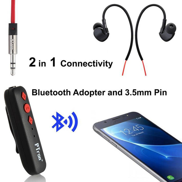 PTron Soundrush Wireless Bluetooth Adapter With Stereo Earphone For Vivo Y21 (Red)