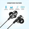 pTron Boom Pro 4D Deep Bass Dual Driver Wired Headphones with Mic for All  Samsung Smartphones- (Black)