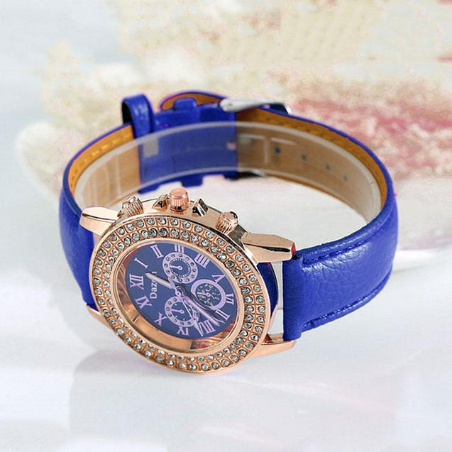 Buy DaZon Ladies Wrist Watch With Leather Strap, Get Analog Ladies Watch With Crystal Stone Free