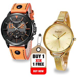 Buy DaZon Combat Men's Sports Quartz Watch,Get Arc Ladies Bracelet Analog Wrist Watch for Couples