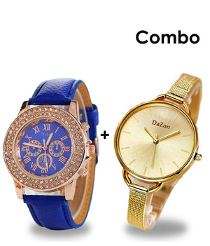 DaZon Arc Bracelet Strap Analog Dial Ladies Wrist Watch And Crystal Stone Analog Dial Ladies Watch