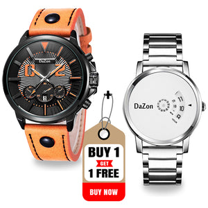 Buy DaZon Orb Turntable Dial Wrist Watch Men , Get DaZon Combat Men's Sports Style Quartz Watch Free