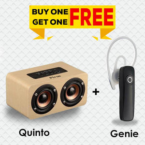 PTron Quinto 10W Vintage Bluetooth Wireless Speaker and Xmate Genie Bluetooth Mono Headset