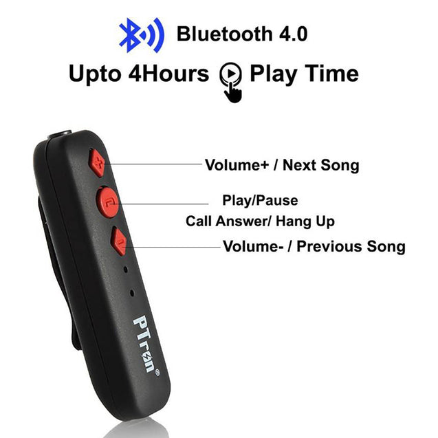 PTron Soundrush Wireless Bluetooth Adapter With Stereo Earphone For Vivo Y28 (Red)