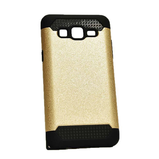 Samsung Galaxy J2 Back Cover Dual Layer Slim Armor Hard Back Case (Gold) With (Black)