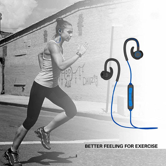 PTron Sportster Wireless In-ear Bluetooth Headset With mic For Motorola Moto E4 Plus Blue