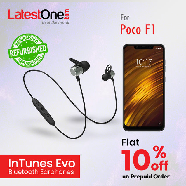 Refurbished - pTron InTunes Evo Bluetooth 5.0 Earphones with Mic for Poco F1- (Grey/Black)