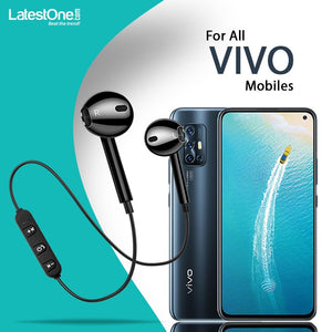 PTron Avento Bluetooth Headphones In-Ear Wireless Earphones With Mic For All Vivo Smartphones Black