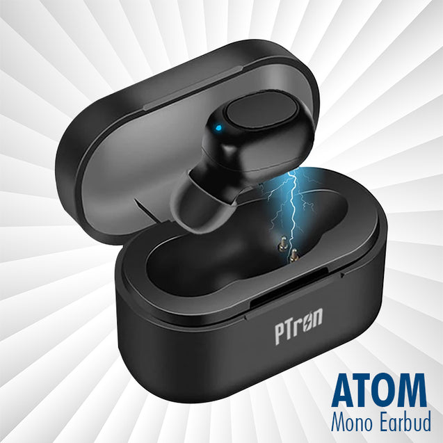 PTron Atom Bluetooth 5.0 True Wireless Earbuds With 180mAh Charging Case All Smartphones (Black)
