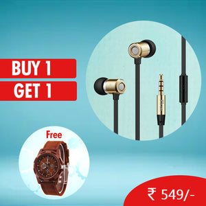Buy PTron Unison In-Ear Headphone With Noise Cancellation ,Get DaZon Valor Stylish Army Wrist Watch Free
