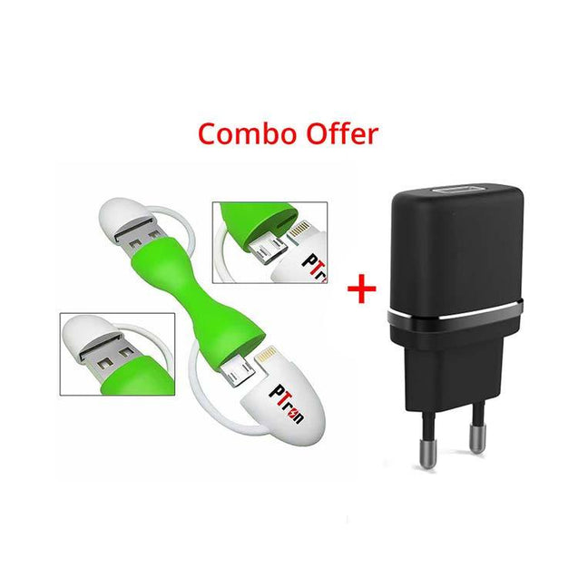 USB Raja Multifunction Data cable (White/Green) Universal 2.4A Travel Charger Adapter (Black)