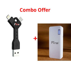 PTron Y shape 2 in 1 USB Data Cable And 8000mAh Power Bank With 2 USB Port For All Smarphones