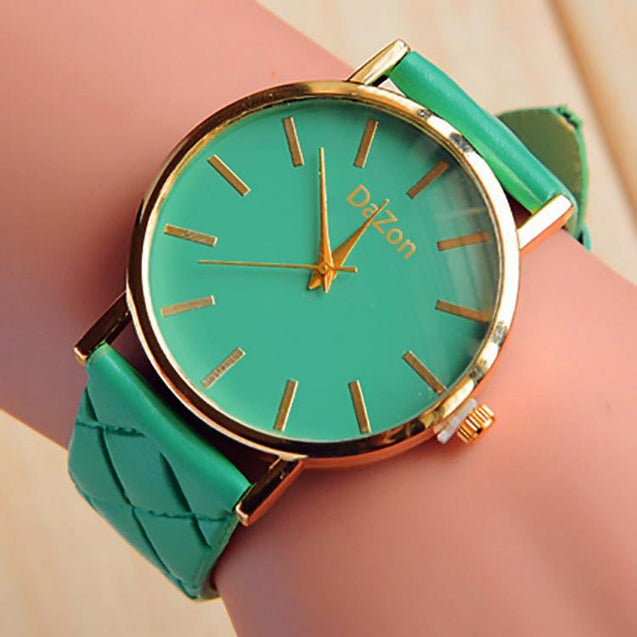 DaZon Stylish Analog Ladies Watch With Leather Strap (White) And Casual Ladies Wrist Watch (Green)