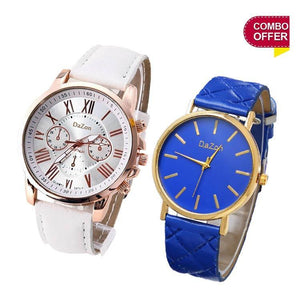 DaZon Stylish Analog Ladies Watch With Leather Strap(White) And Casual Ladies Wrist Watch (Blue)
