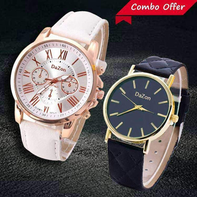DaZon Stylish Analog Ladies Watch With Leather Strap (White) And Casual Ladies Wrist Watch (Black)