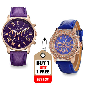Buy DaZon Stylish Ladies Wrist Watch , Get Analog Ladies Watch With Crystal Stone Free