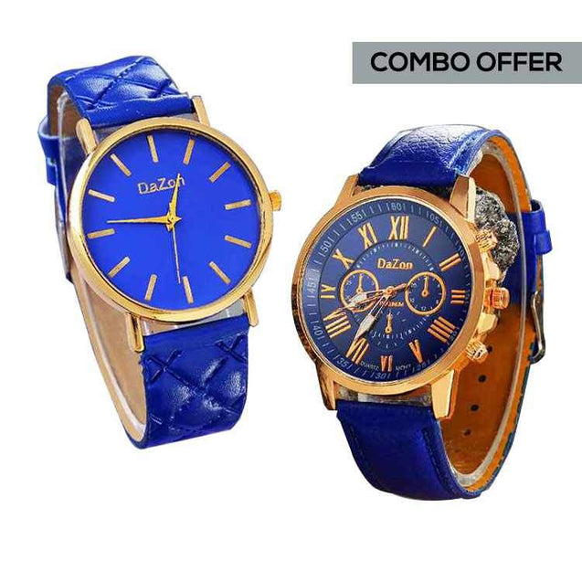DaZon Stylish Ladies Analog Watch With Leather Strap And Casual Ladies Wrist Watch (Blue)