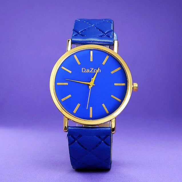 DaZon Stylish Ladies Analog Watch With Leather Strap (Purple) And Casual Ladies Wrist Watch (Blue)