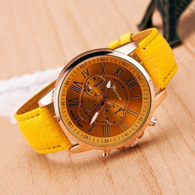DaZon Stylish Ladies Analog Watch With Leather Strap (Yellow) And Casual Ladies Wrist Watch (Blue)