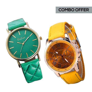 DaZon Stylish Ladies Analog Watch With Leather Strap (Yellow) And Casual Ladies Wrist Watch (Green)