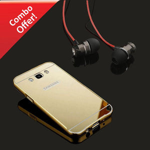 Samsung Galaxy (J5-2016) Mirror Aluminium Metal Back Cover And Metal Bass Headphone (Dark Grey/Gold)