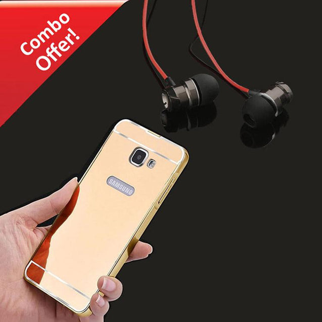 Samsung Galaxy A7 2016 Back Cover Mirror Metal Back Case (Gold) And Metal Bass Headphone (Dark Grey)