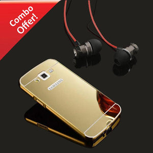 Samsung Galaxy Grand 2 Back Cover Mirror Metal Back Case (Gold) And Metal Bass Headphone (Dark Grey)