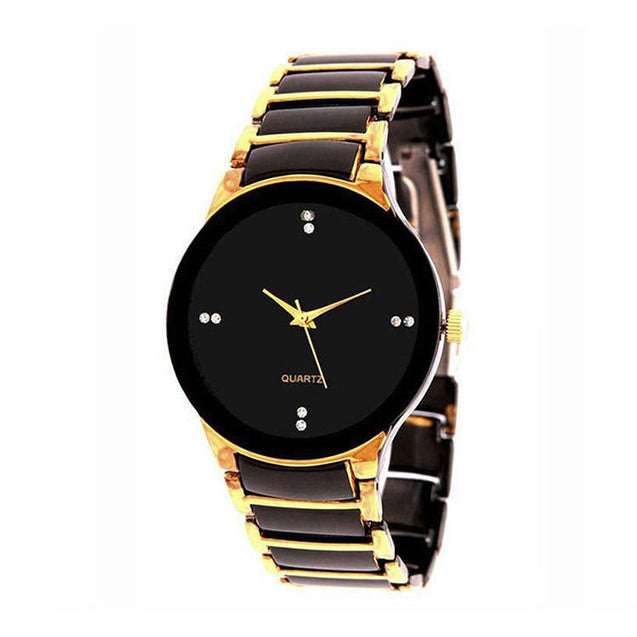 Fashion Men's Full Steel Party Wear Wrist Watch And DaZon Ladies Leather Strap Wrist Watch