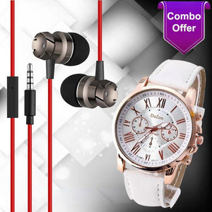 PTron High Quality Metal Bass Headphone (Dark Grey) And DaZon Stylish Ladies Wrist Watch (White)