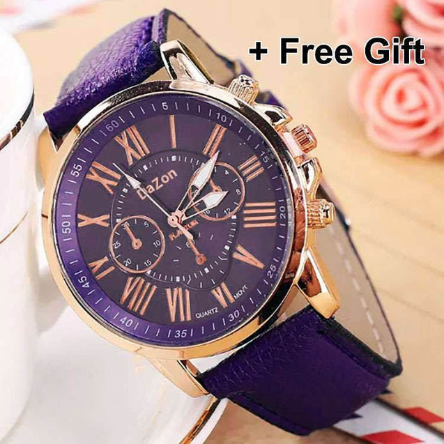 DaZon Ladies Analog Dial Leather Strap Wrist Watch (Purple) And PTron HBE7 In-Ear Earphone (White)
