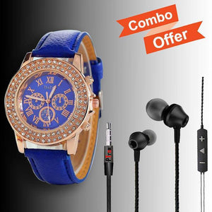 DaZon Ladies Crystal Stone Wrist Watch (Blue) And PTron HBE9 Stereo Earphone (Black)