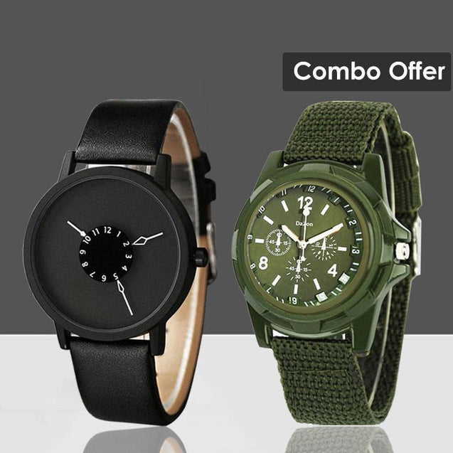 DaZon Astro Unisex Watch And Valor Army Men's Wrist Watch (Black/Green)