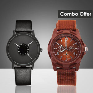 DaZon Astro Unisex Watch And Valor Army Men's Wrist Watch (Black/Brown)