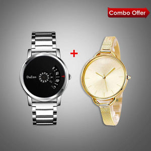 DaZon Arc Ladies Watch With Bracelet Strap (Gold) And DaZon Orb Turntable Dial Men's Watch (Black)