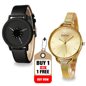Buy DaZon Astro Unisex Watch , Get Arc Wrist Watch Analog With Rotatable Scale Dial Watch Free