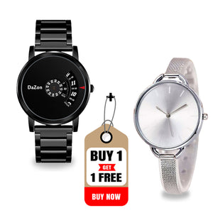 Buy DaZon Arc Bracelet Analog Dial Ladies Wrist Watch , Get With Orb Turntable Dial Men's Watch Free