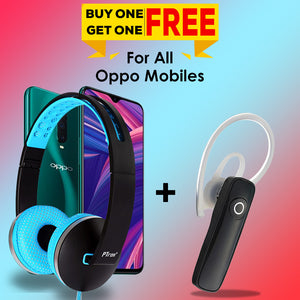 PTron Rebel Stereo Wired Headset and Xmate Genie Mini Bluetooth Earphone for All OPPO Smartphones
