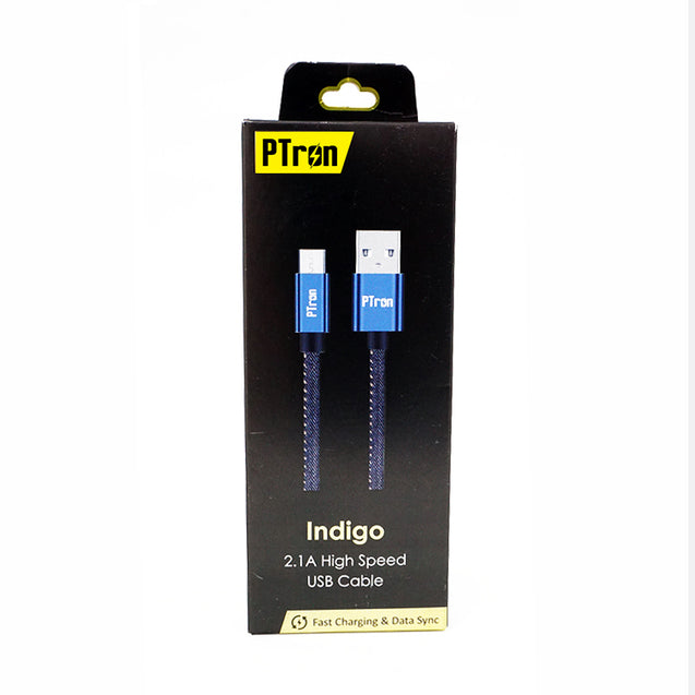 PTron Indigo USB Lightning Cable Jeans Cloth Sync Data Cable Charger For iOS Smartphones (Black)