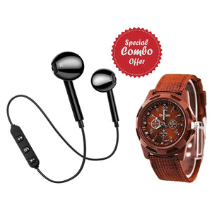 Buy Refurbished - PTronAvento Wireless Bluetooth Headset , Get Dazon Watch (Brown) Free
