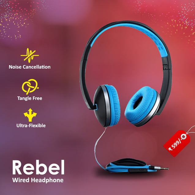 Best Combo Offer PTron Rebel Stereo Headphone Black/Blue,PTron Aero In-Ear Bluetooth Headset Blue & 2 In 1 USB To Micro USB & Lightning Data Cable Blue/Gray