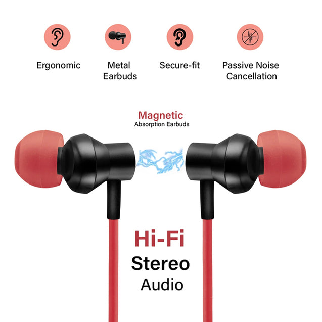 pTron InTunes Beats Ergo-fit In-Ear Stereo Sound Wireless Headphones - (Black/Red)