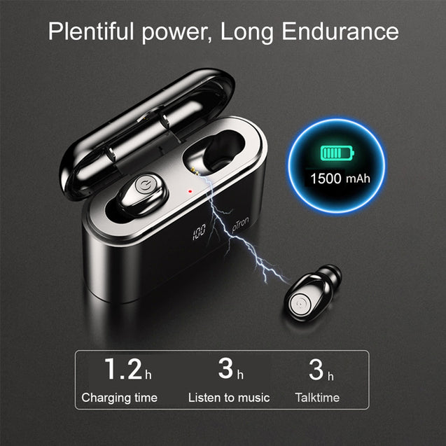 PTron Bassbuds Tango True Wireless Stereo 5.0 Mini Earphones with Mic for All Smartphones (Black)