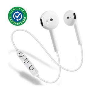 Refurbished- PTron Avento Bluetooth Headphones In-Ear Wireless Earphones With Mic For All Smartphones (White)