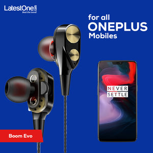 PTron Boom Evo 4D Earphone Deep Bass Stereo Wired Headphone With Mic For All Oneplus (Black/Gold)