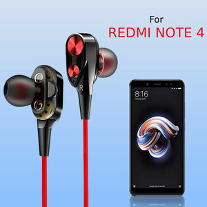 PTron Boom Evo 4D Earphone Deep Bass Stereo Wired Headphone With Mic For Xiaomi Redmi Note 4 Black/Red