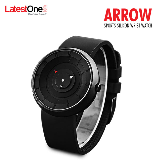 DaZon Arrow Stylish Sports Silicon Wrist Watch With Analog Quartz Watch (Black)